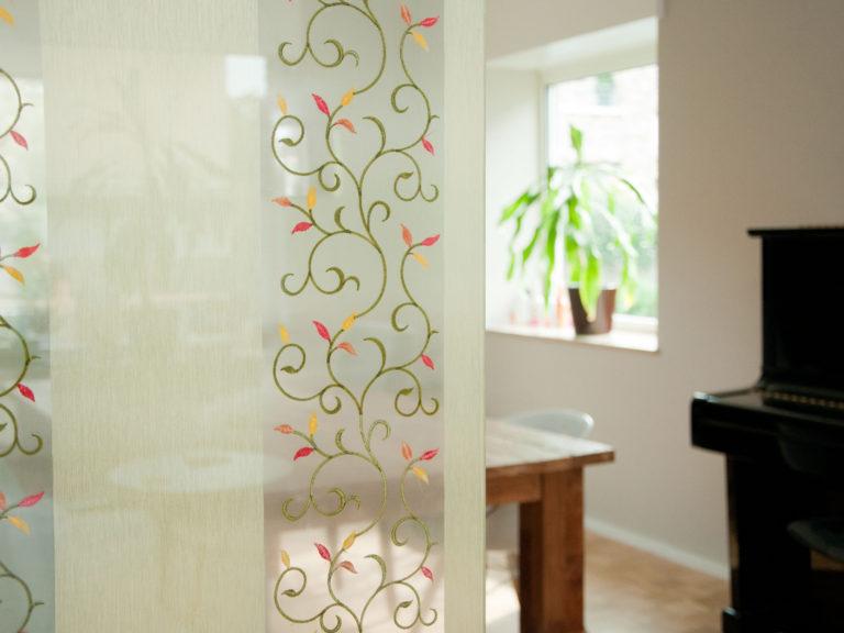 verbundglas textil trennwand glastür